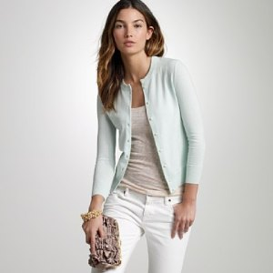 A classic style that's never dated, the crewneck cardigan has a modest neckline and adds a polished effect to anything you throw it over. I'd wear this with a  bright floral or loud geometric pattern underneath. The plain cardigan will balance the overpowering pattern.