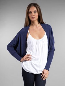 This version is slouchy with it's intentionally drapey fit. But rest assured that slouchy does not equal sloppy if you layer it with a fitted top. Try a bold emerald green or bright orange with this soft navy blue. And, on the bottom, try your favorite light colored denim or even a classic pencil skirt and heels.