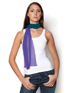 A long, skinny scarf like this, made from silk chiffon can be wrapped several times around your neck like a faux-turtleneck. Alternatively, you can wrap it one single time, loosely with both ends in front.  I even love to tie these in my hair and let the ends hang down my back.