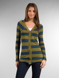 This one is sporty with it's thick rugby-like stripes but the twist is in the color combination. It may seem loud but let this cardigan be the focus of your outfit. Keep it simple with jeans or plain, flat front trousers and a simple t-shirt or classic white oxford (cuffs, collar, and tail peeking out). If you're worried the horizontal strips will widen you, button only the middle one or two buttons to create an hourglass shape.