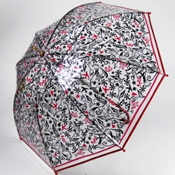 "Classic black/white/red combination printed on clear plastic gives an airy feel over your head when you hold this up to shield from the rain. The slight dome shape is more protective than the shallower quality of cheaper versions. The hook handle makes for easy ""holding"" and hanging upon arrival home. Finally, the pattern of birds and flowers provide prettiness. It's something all women need on a lousy-weather day."