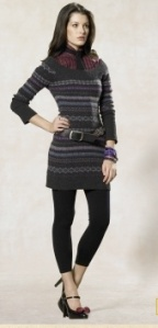 Fair Isle sweater dress with a wide neck that shows off a more intersting, but subdued pattern. The tie adds a droplet of masculine style that peeks out and the leggings provide a special layer of femininity, lest we forget, we're girls.