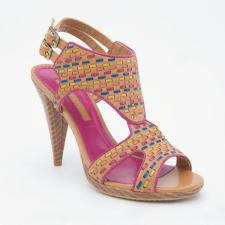 Pretty colors against neutral tan. Open peep-toe with leather strappings to securely hold your foot in place. Tapered heel, double buckle. Add all this up and you get a delicious shoe.