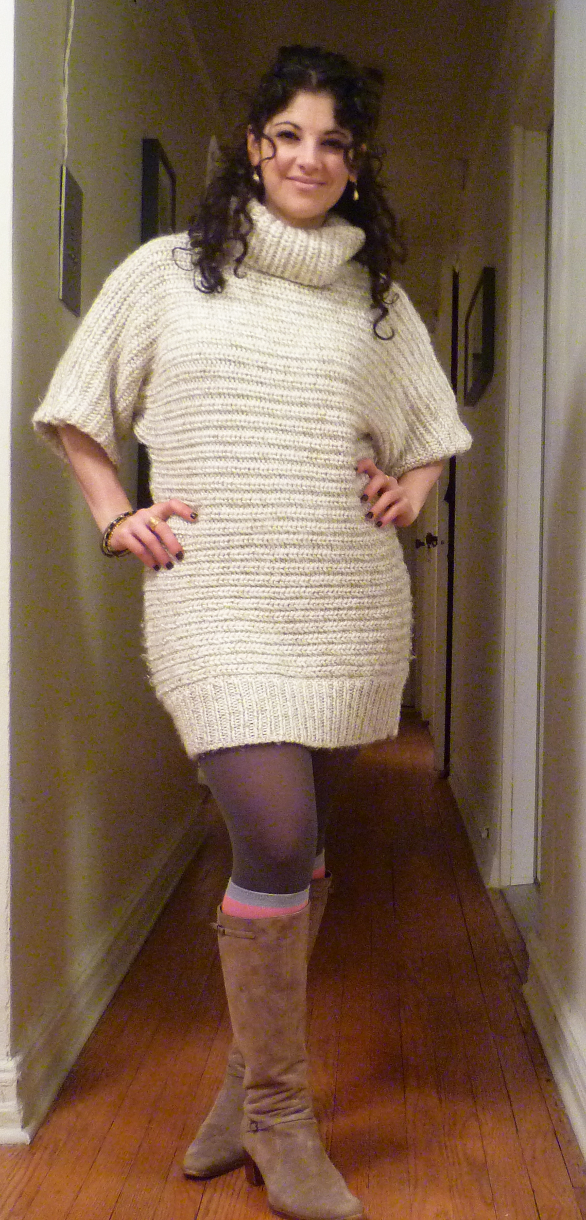 Cream Colored Sweater Dress Sweater Grey